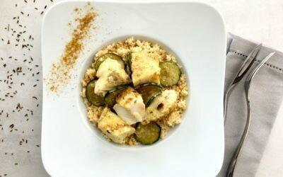 Aiguillettes de merlu, sauce curry et céréales