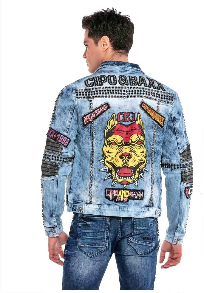 CIPO&BAXX CJ262 Blue Pitbull Jeans Biker Jacket
