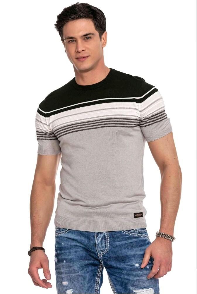 Cipo&Baxx CT653 Tshirt Lines Light Grey (Knitwear)