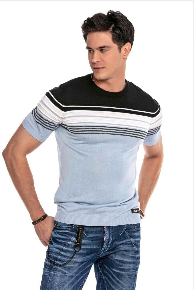 Cipo&Baxx CT653 Tshirt Lines Light Blue (Knitwear)