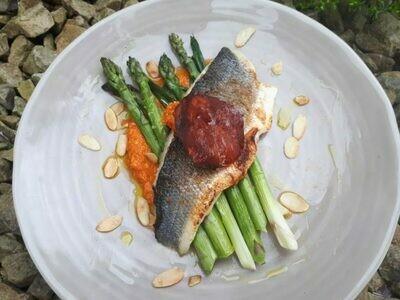 スズキとロメスコソース、アスパラとバジルオイル、グリルポレンタ添え Sea Bass with Romesco and Asparagus in Basil Oil and Grilled Polenta