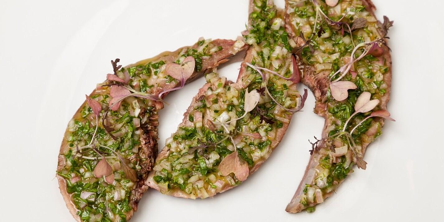 味噌漬け豚タンとケーパーズのサルサベルデ  Miso Cured Pork Tongue with Capers Sauce Vert