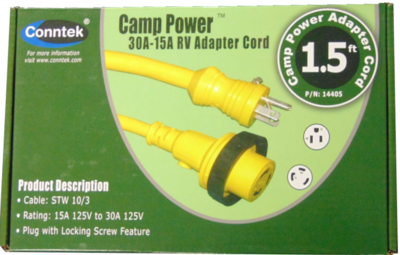 30 Amp to 15 Amp  Shore Power Adapter