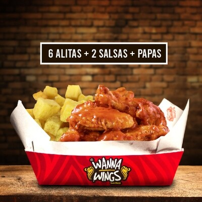 6 ALITAS + 2 SALSAS + PAPAS