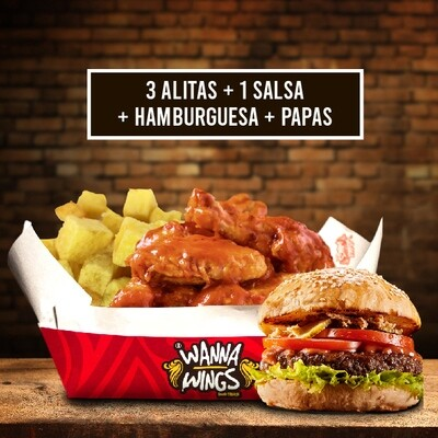 3 ALITAS + 1 SALSA + PAPAS + HAMBURGUESA