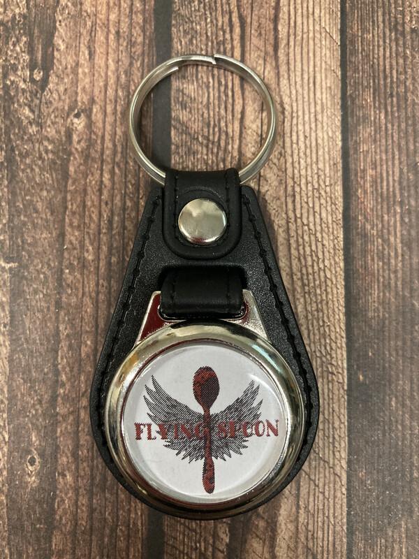 Leder-Schlüsselanhänger Flying Spoon mit Einkaufschip