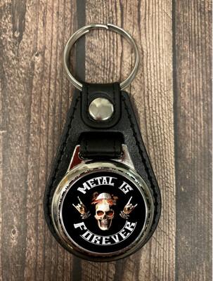 Metal is Forever - Leder-Schlüsselanhänger mit Einkaufschip