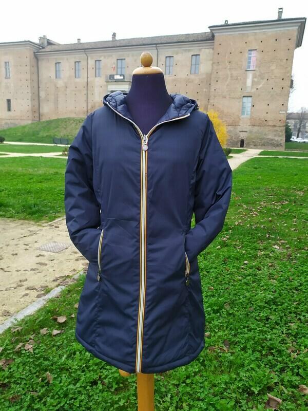 Giacca donna lunga reversibile con zip in contrasto