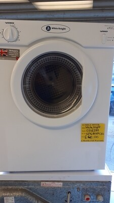WHITE KNIGHT SENSORDRY VENTED TUMBLE DRYER DUEL HEAT 3Kg 6 MONTHS WARRANTY MODEL 031238A