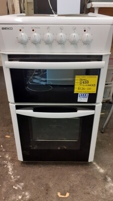 BEKO ELECTRIC COOKER FIXED HOB SEPARATE OVEN AND GRILL 500mm MODEL D533A