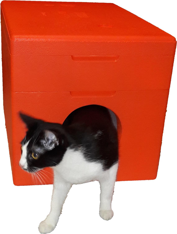 Dom dla kota cieplutki na zewnątrz malowany 4cm ORANGE