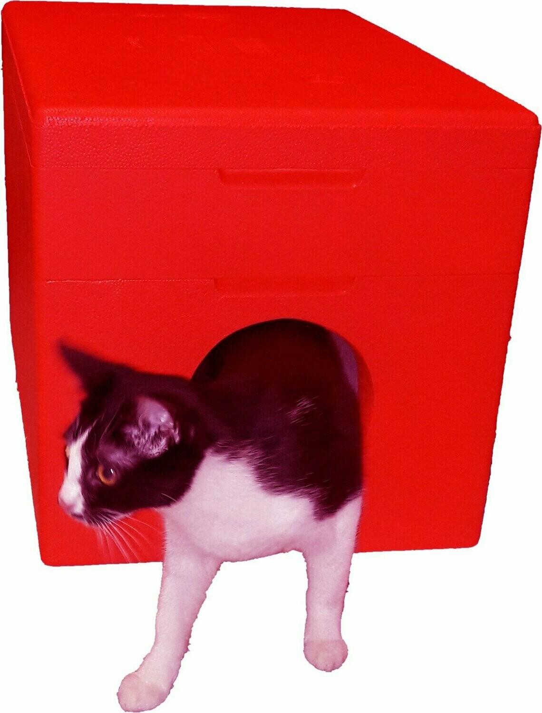 Dom dla kota cieplutki na zewnątrz malowany 4cm CZERWONY