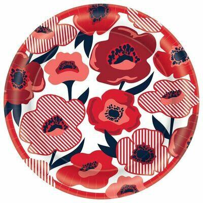 Red Poppy Plates 8ct.