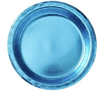 Metallic Caribbean Blue Plates 8ct.