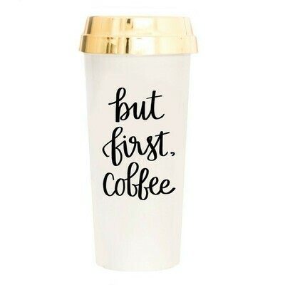 But First Coffee Gold Travel Mug
