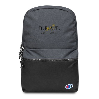 B.E.A.T. Embroidered Champion Backpack (Black/Gold)