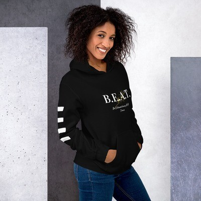 'Be Extraordinary At All Times' White Stripped Hoodie