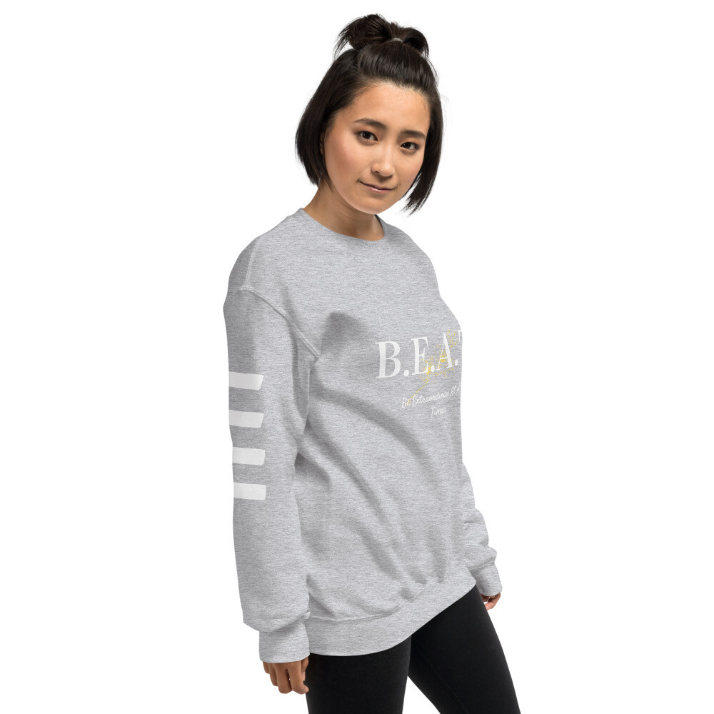 'Be Extraordinary At All Times' White Stripped Sweatshirt