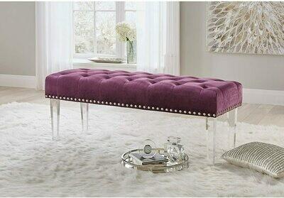 Velvet deep buttoned bench