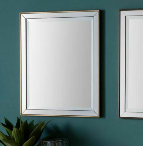 Glass Framed Wall Mirror with Gold Trim