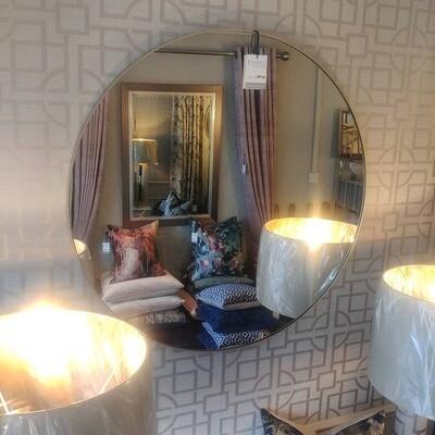 Round Champagne Framed Mirror