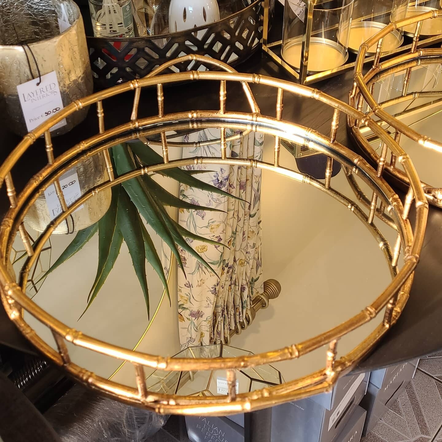 Gold Finish Mirrored Trays