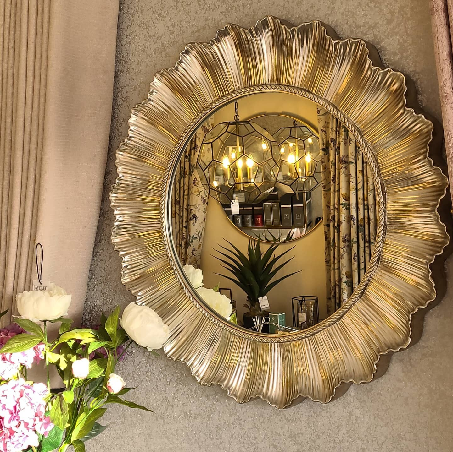 Champagne Finish Scallop Wall Mirror