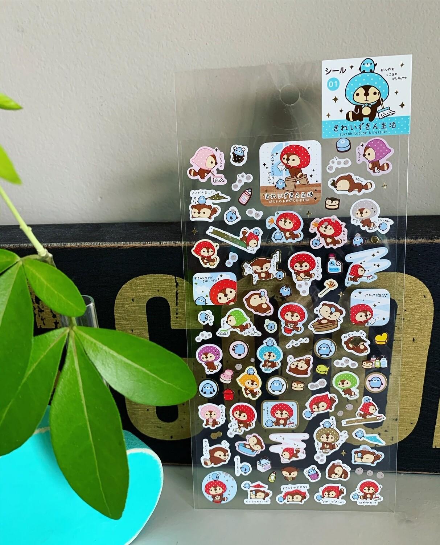 Japan San-X 2009 Zukinhitotude Kireizuki Sticker Sheet
