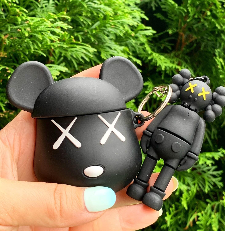 Black Kaws Airpod Case w/ Figurine keychain