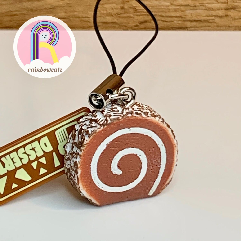 Mini Chocolate Swiss Roll Charm Strap
