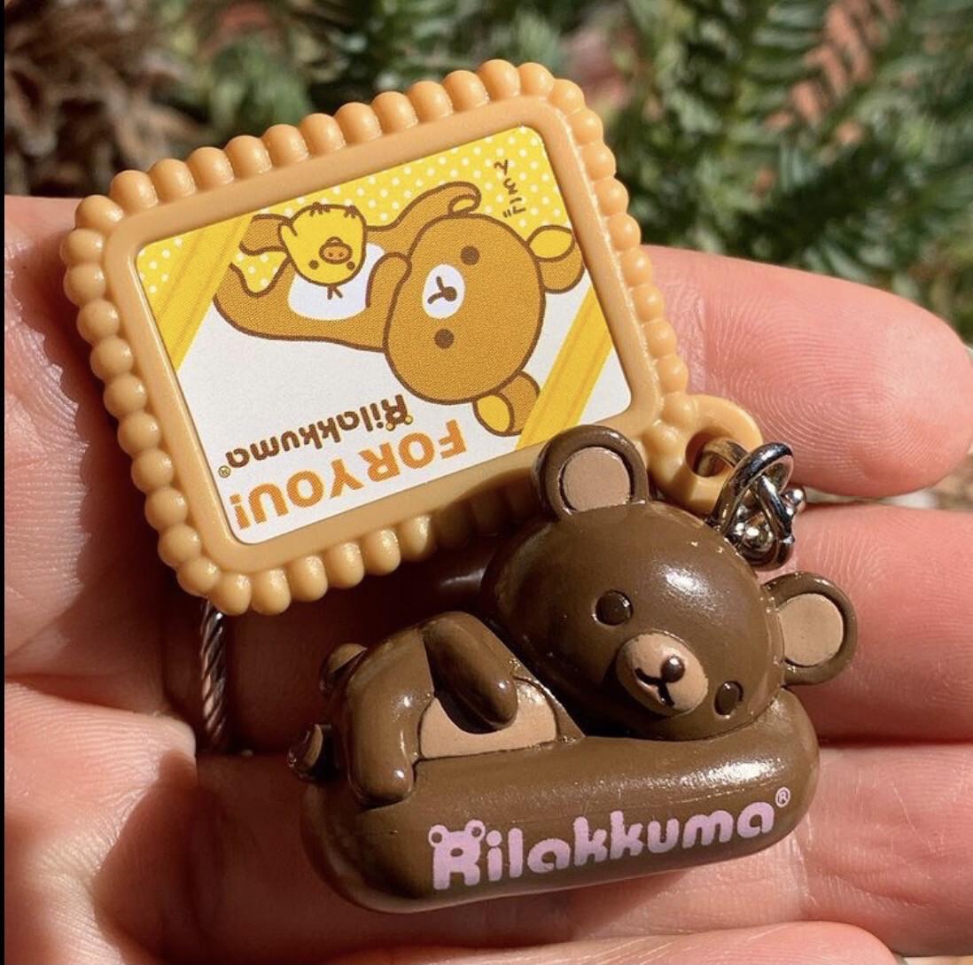 Bandai San-X Rilakkuma Relax Bear Biscuit Keychain
