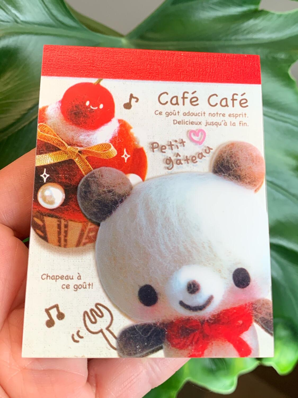Kamio Cafe Cafe Kuma Bear Mini Memo Pad
