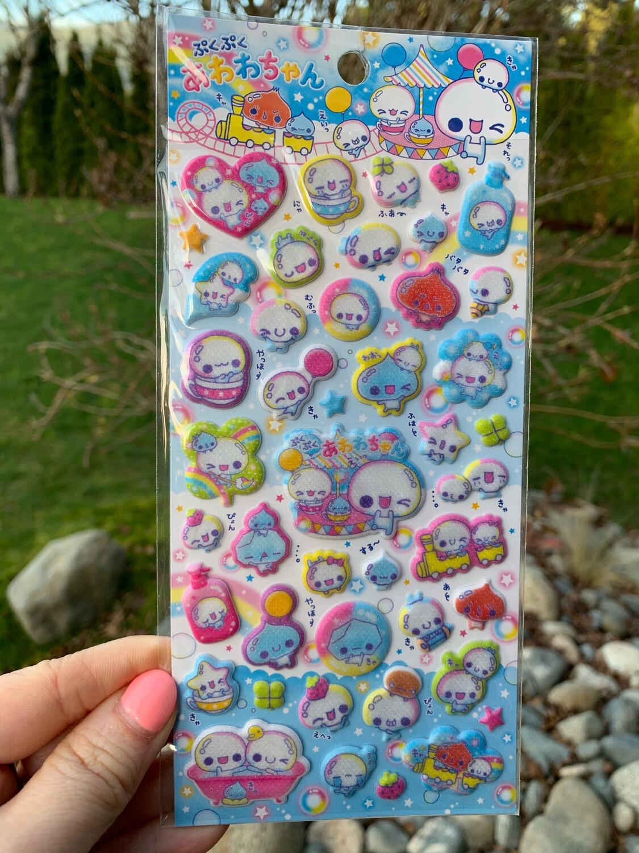 Kamio Awa Awa Bubble Chan Shimmer Sponge Sticker Sheet