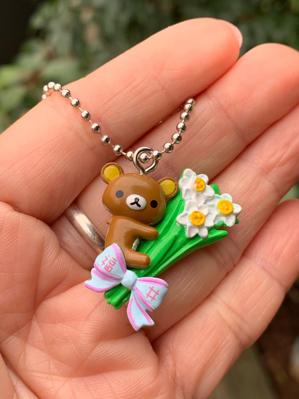 San-X Rilakkuma Relax Bear Flowers Keychain