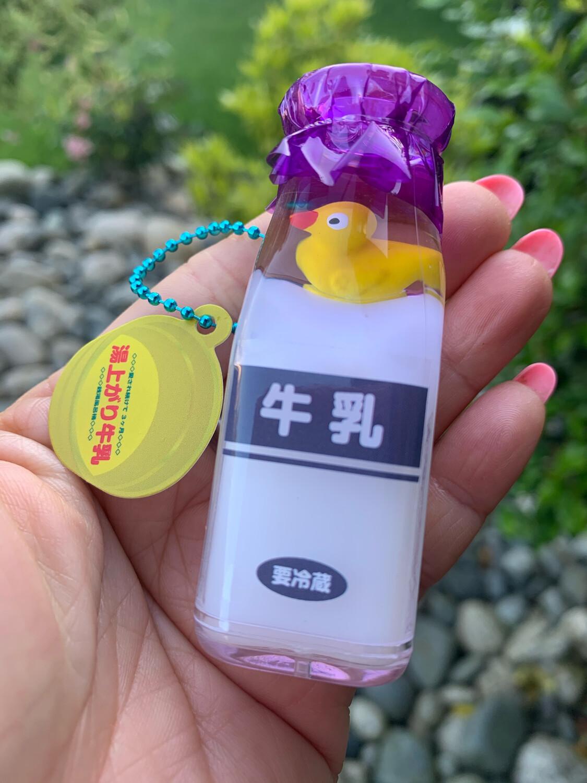 Japan Rubber Duck Milk Bottle Water Charm (Puple #2)
