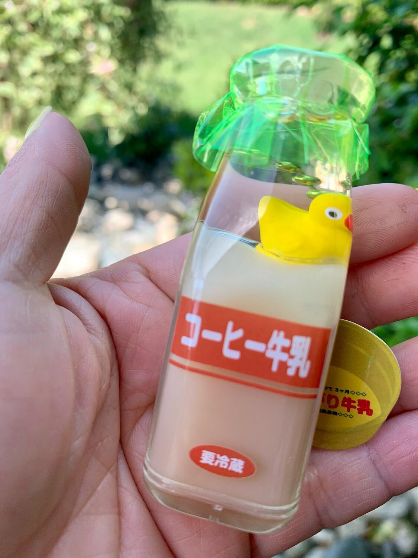 Japan Rubber Duck Milk Bottle Water Charm (Green #2)