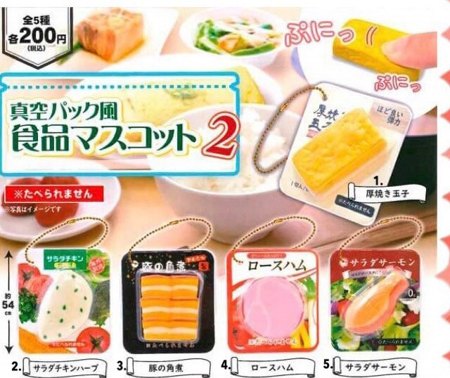 Japan Vaccume Packaged Food Part 2 Squishy Miniature Keychain Gashapon