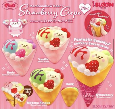 [Pre-order] iBloom Marshmallow Bear's Strawberry Crepe MINI Squishy