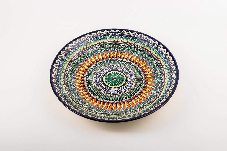 "12.6"" Handmade Decorative Ceramic serving Uzbek Plate"