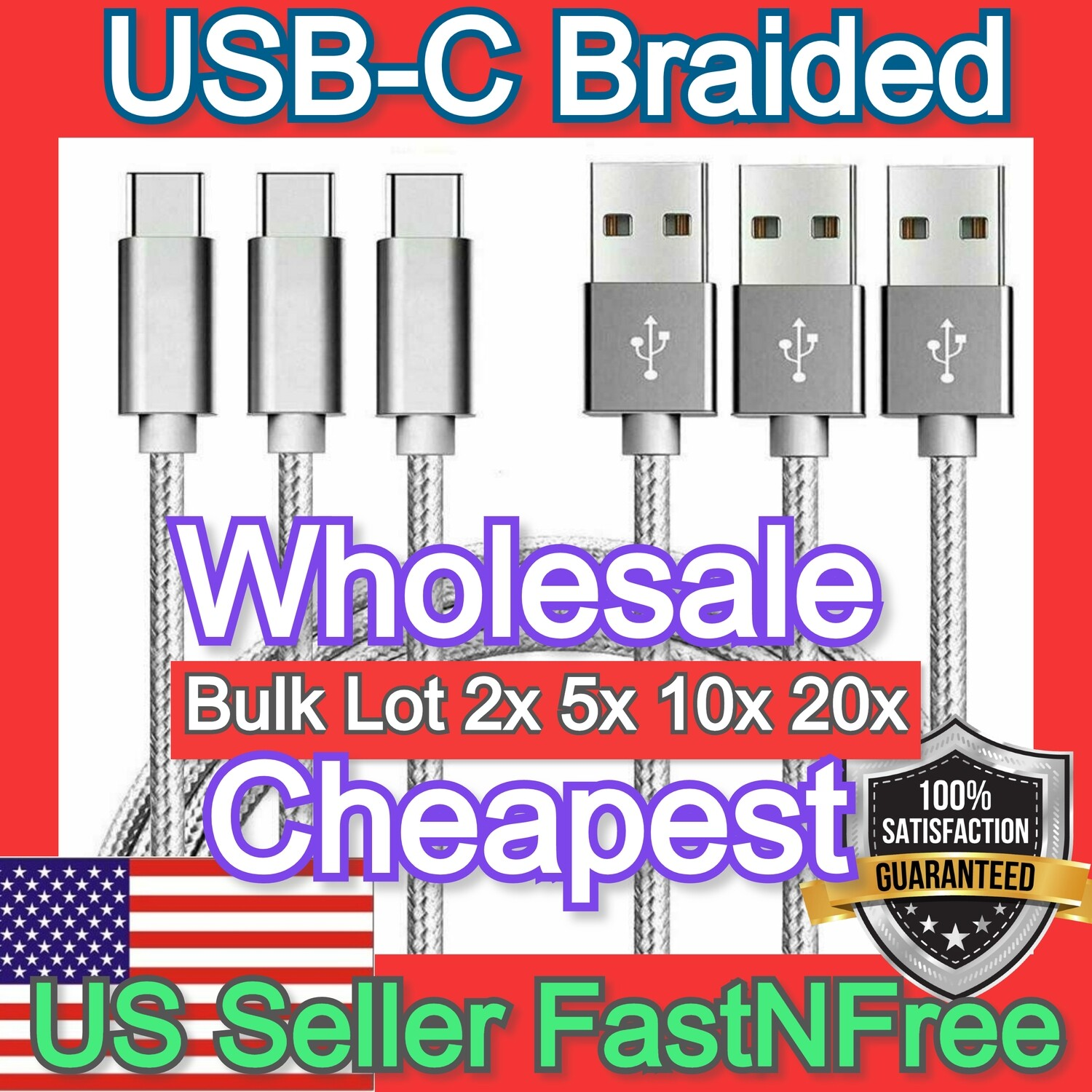 USB-C Bulk USB C Cable 3ft Fast Charger USBC Braided