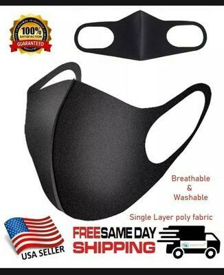 Black Unisex Face Masks Cloth Cover Mask Reusable Washable