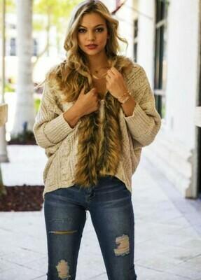 Womens Batwing Sleeve Loose Fur Collar Sweater Knit Cardigan Outwear Jacket Coat