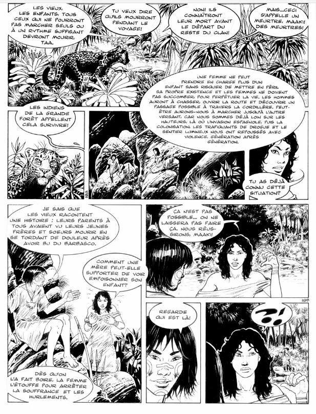 Page originale N° 19 du 2e album Taanoki Le fils du jaguar. 2002. François Plisson Planche originale