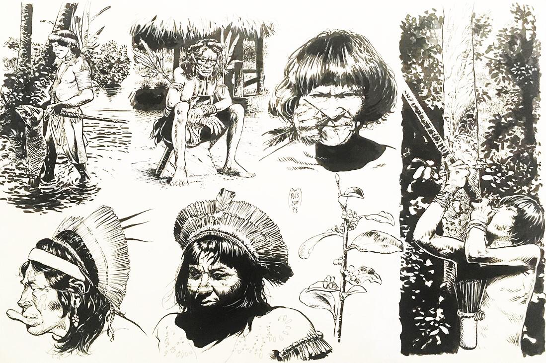 Dessins préparatoires Taanoki (casterman) indiens amazoniens dont le sorcier du Clan ashaninka par François Plisson