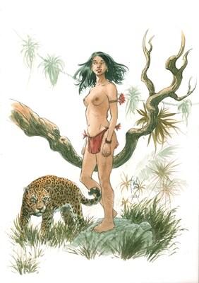Amazonienne et jaguar format A3