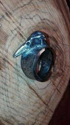 Стилизованное железное кольцо с вороньей головой  , регулируемое кольцо с воронью.