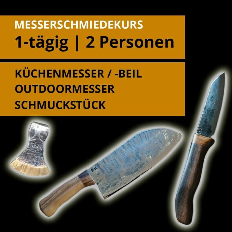 IDEALER PAARGUTSCHEIN! 1 Tages- Messerschmiedekurs für 2 Personen über ein Outdoor- oder Küchenmesser bzw. Beil und ein Schmuckstück.