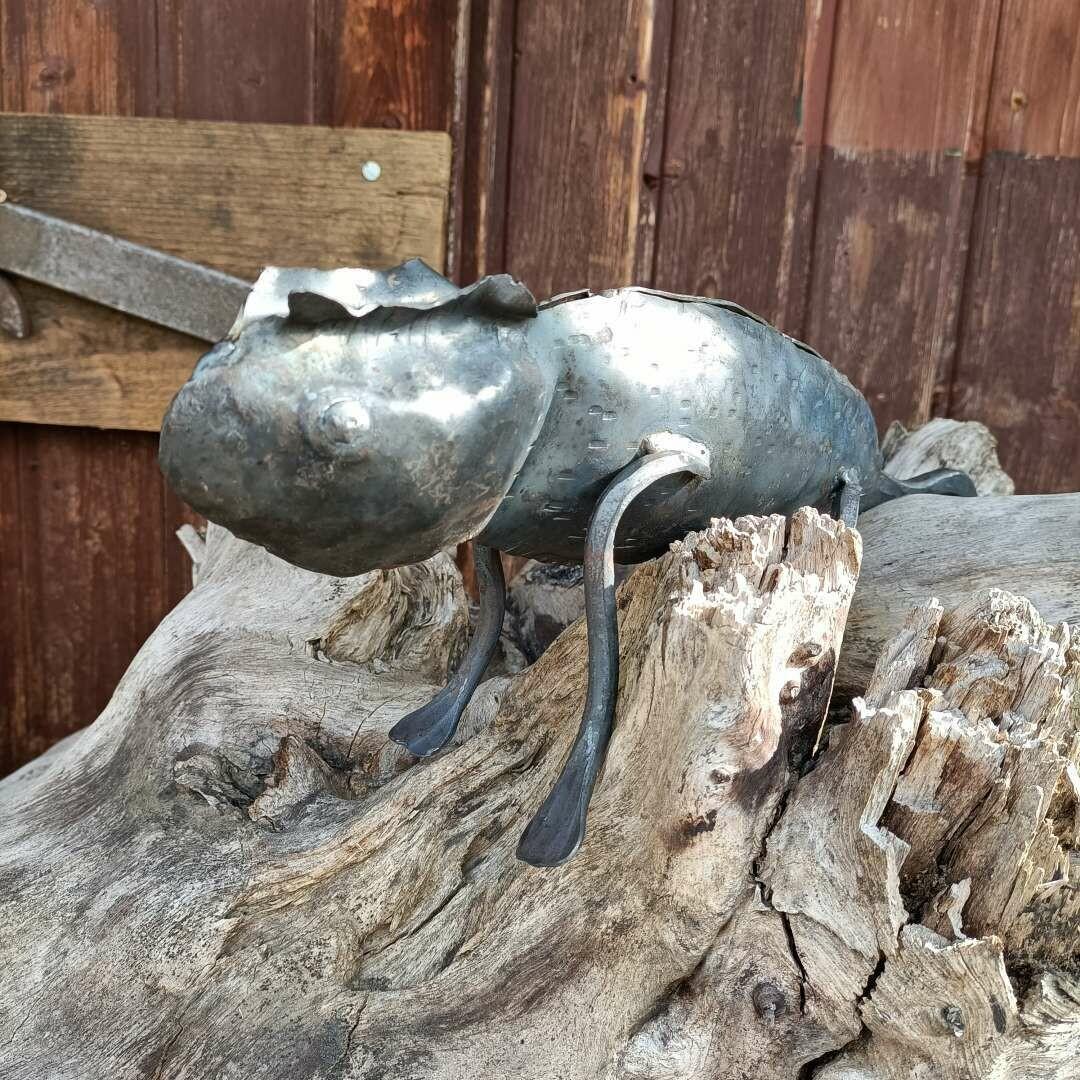 Chamäleon aus Eisen unbehandelt oder lackiert per Hand geschmiedet