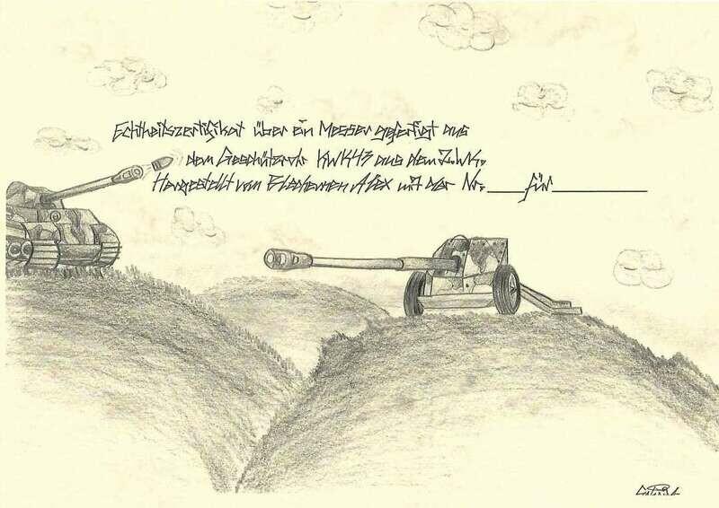 Wunschmesser aus dem Geschützrohr KWK 43 aus dem 2 Weltkrieg. Outdoor, Küche usw, Mit Zertifikat und fortlaufender Nummer.