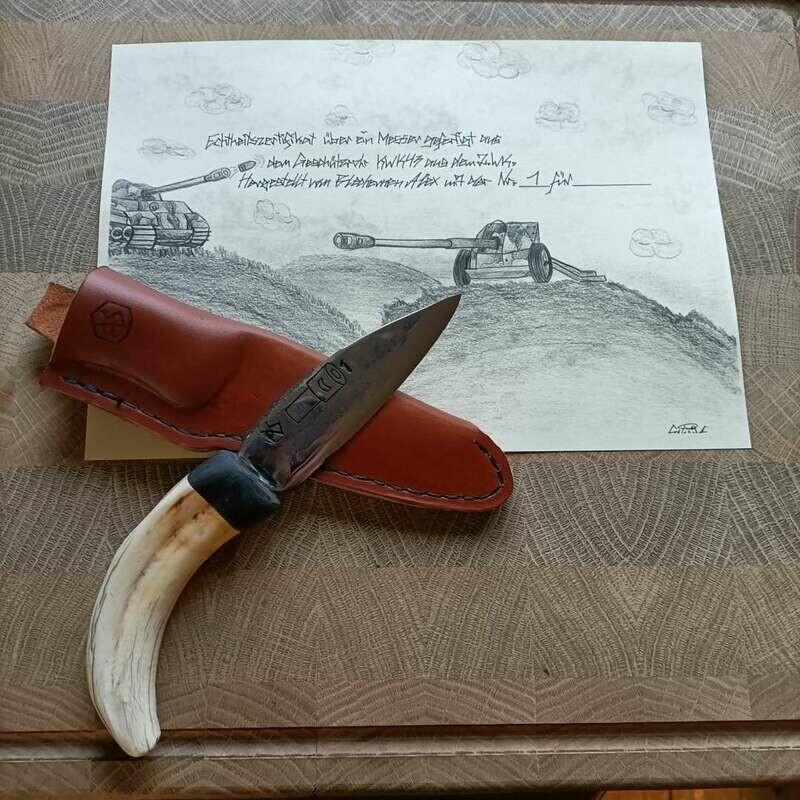Outdoor- Messer aus dem Geschützrohr KWK43 aus dem 2 Weltkrieg.